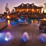Gas heated pool, gas lighting and effects