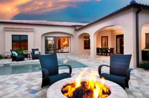 Gas pool and fire-pit and lighting