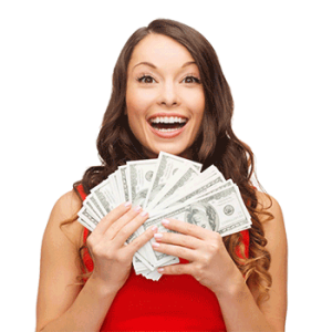 Girl with Cash Rebates In Hand